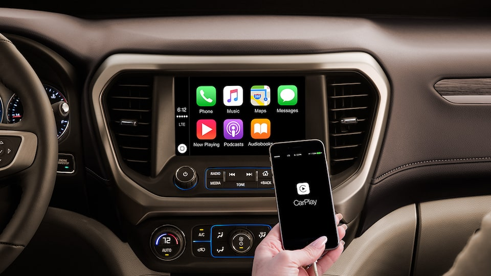 Phone Projection: GMC infoentretenimiento es compatible con Apple CarPlay y Android Auto te permitirá proyectar aplicaciones en la pantalla central